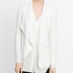 Vince. White Ribbed Sleeve Drape Front Jacket